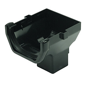 FloPlast 114mm Square Line Gutter Stopend Outlet - Black