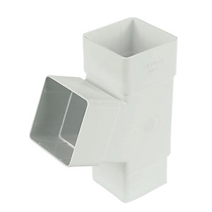 FloPlast RYS1W Square Downpipe 67.5 Deg Branch - White 65mm