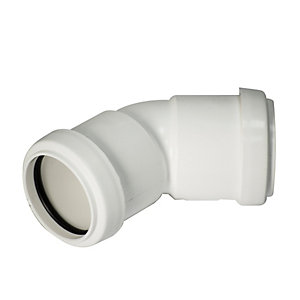 FloPlast WP18W Push-Fit Waste 135 Deg Bend - White 32mm