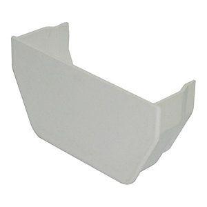 FloPlast 114mm Square Line Gutter Stopend Outlet - White
