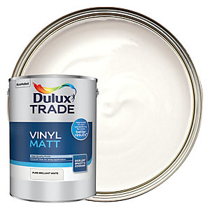 Dulux Trade Vinyl Matt Emulsion Paint - Pure Brilliant White 5L