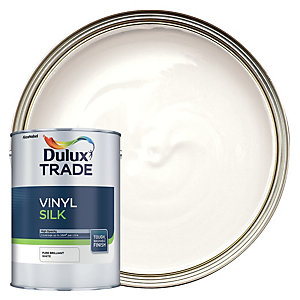 Dulux Trade Vinyl Silk Emulsion Paint - Pure Brilliant White 5L