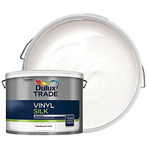 Dulux Trade Vinyl Silk Emulsion Paint - Pure Brilliant White 10L