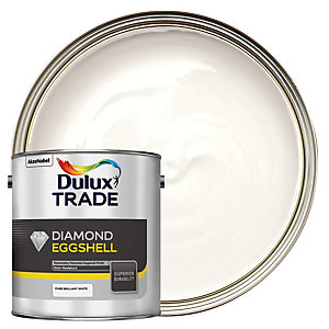 Dulux Trade Diamond Eggshell Emulsion Paint - Pure Brilliant White 2.5L
