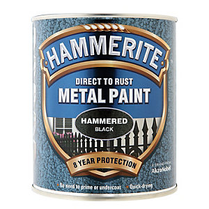 Hammerite Metal Paint - Hammered Black 750ml