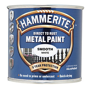 Image of Hammerite Metal Paint - Smooth White 250ml