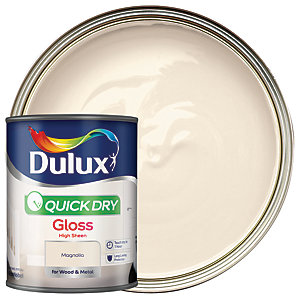 Dulux Quick Dry Gloss Paint - Magnolia 750ml