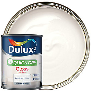 Dulux Quick Dry Gloss Paint - Pure Brilliant White 750ml