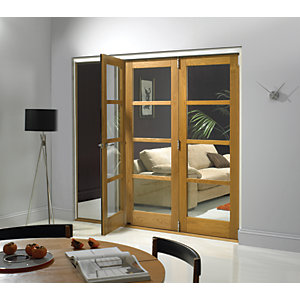 Wickes Belgrave Fully Glazed Oak 4 Lite Internal Bi-Fold 3 Door Set - 2074mm x 2390mm
