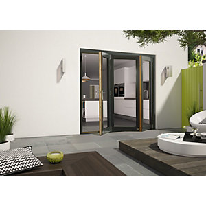 Wickes Cairo External Aliminium-clad Oak Bi-fold Door Grey 7ft Wide