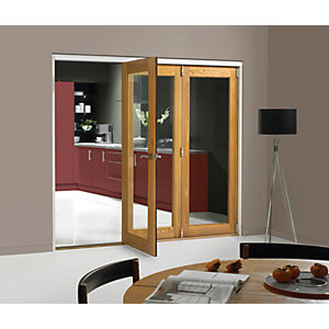 Wickes Belgrave Fully Glazed Oak 1 Lite Internal Bi-Fold 3 Door Set - 2074mm x 2090mm