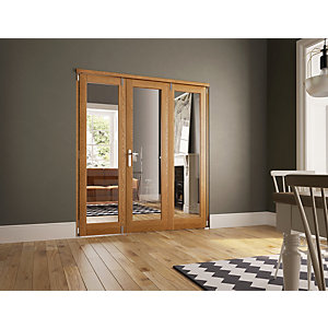 Wickes Newbury Fully Glazed Oak 1 Lite Internal Bi-Fold 3 Door Set - 2007mm x 2090mm