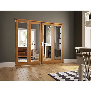Wickes Newbury Fully Glazed Oak 1 Lite Internal Bi-Fold 4 Door Set - 2007mm x 2390mm