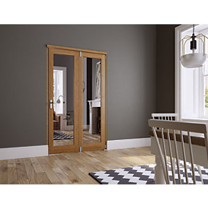 Wickes Newbury Fully Glazed Oak 1 Lite Internal Bi-Fold 2 Door Set - 2007mm x 1190mm