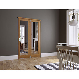 Wickes Newbury Internal Fold Flat 2 Door Set Oak Veneer 2007mm x 1490mm