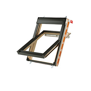 Image of Keylite Pine Centre Pivot Roof Window with Frosted Glazing - 1340 x 1400mm