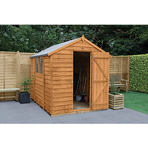 Image of Forest Garden Apex Overlap Dip Treated Shed - 8 x 6 ft