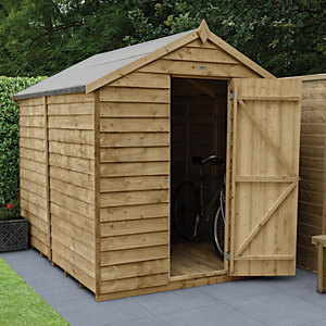 Forest Garden 8 x 6 ft Apex Overlap Pressure Treated Windowless Shed