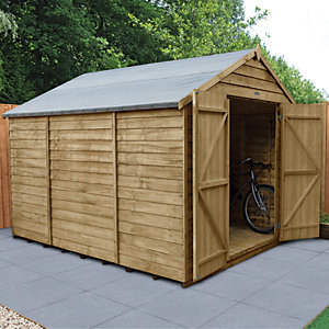Forest Garden 10 x 8 ft Large Apex Overlap Pressure Treated Double Door Windowless Shed