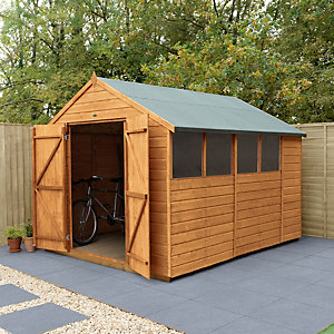 Forest Garden Apex Shiplap Dip Treated Double Door Shed - 10 x 8 ft