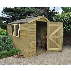 Forest Garden 8 x 6 ft Apex Tongue & Groove Pressure Treated Shed with Opening Windows