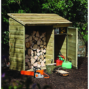 Image of Forest Garden 6 x 2 ft Timber Log Store with Tool Storage