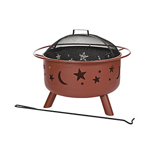 Landmann Big Sky Moon & Stars Round Fire Pit - Red Clay