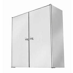 Wickes Double Bathroom Mirror Cabinet - Stainless Steel 440mm