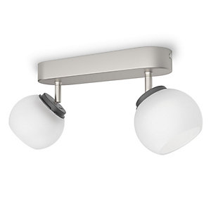 Philips Balla Matt Chrome Frosted Glass LED Bar Double Spotlight - 4W