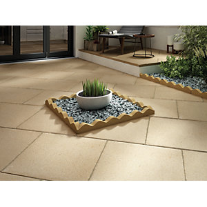 Marshalls Saxon Textured Buff Paving Slab 600 x 600 x 35 mm