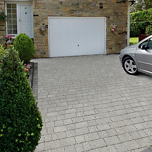 Image of Marshalls Argent Priora Driveway Textured Block Paving Pack Mixed Size - Light Silver 8.06 m2