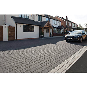 Image of Marshalls Argent Priora Driveway Textured Block Paving Pack Mixed Size - Dark Silver 8.06 m2