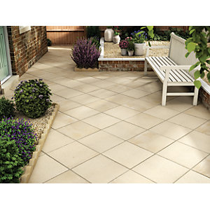 Marshalls Saxon Textured Buff Paving Slab 450 x 450 x 35 mm