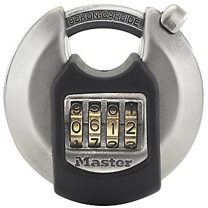 Image of Master Lock Excell M40EURDNUM 4 Digit Resettable Discus Stainless Steel Padlock - 70mm