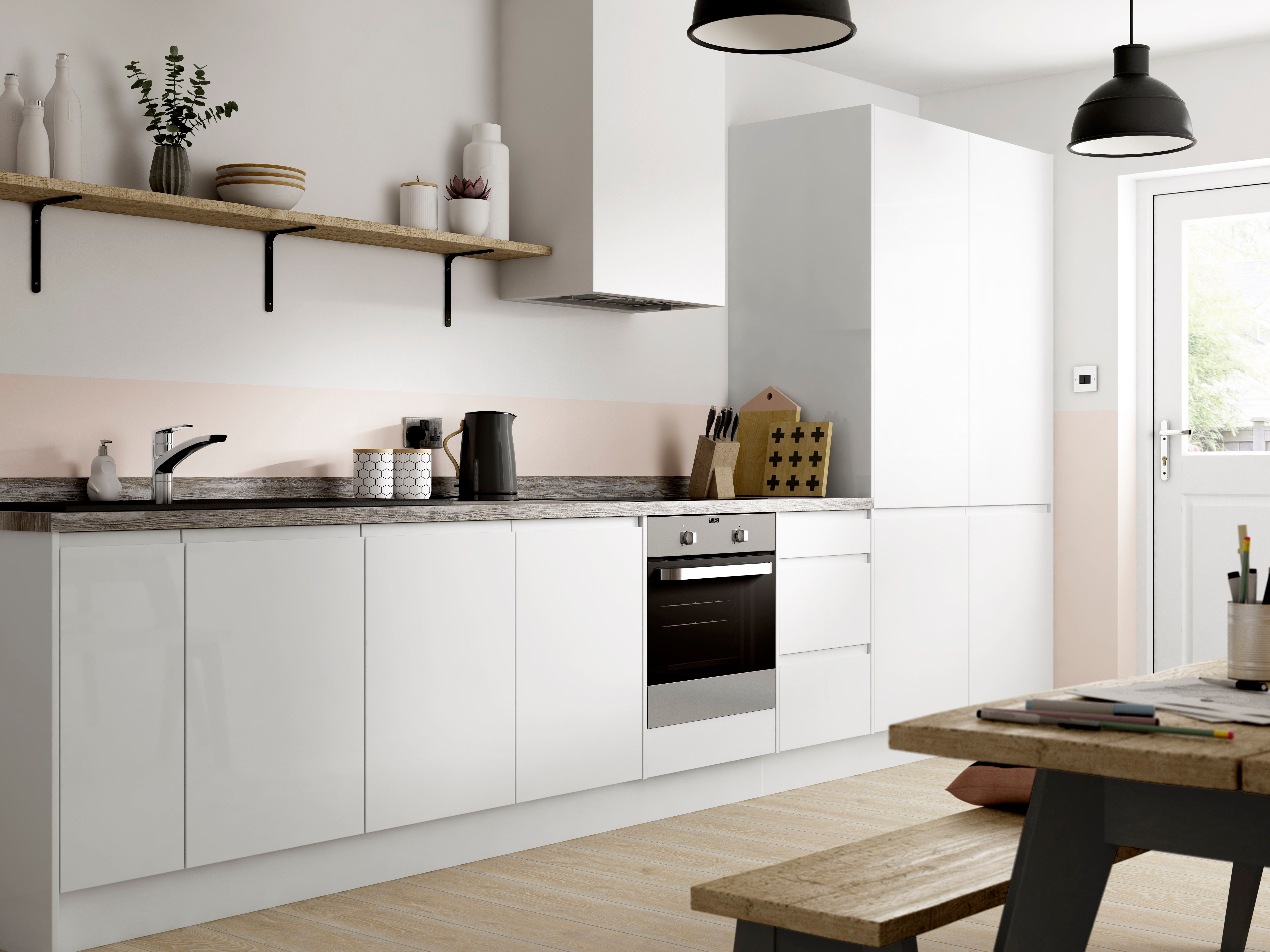 Madison - White Handle-less kitchen | Wickes.co.uk