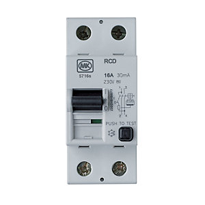 MK 30mA Double Pole Two Module Residual Circuit Breaker - 16A 230V