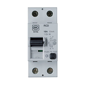 Image of MK 30mA RCD Double Pole Two Module Circuit Breaker - 16A
