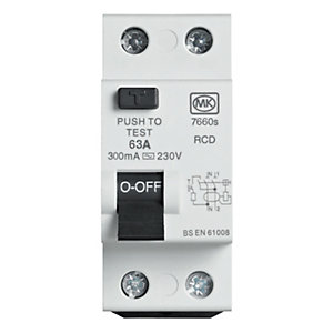 Image of MK 300mA Double Pole Two Module Residual Circuit Breaker - 63A 230V