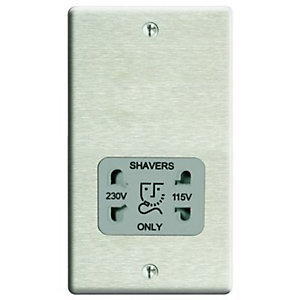 Wickes Twin Raised Plate Dual Voltage Shaver Socket - Brushed Steel