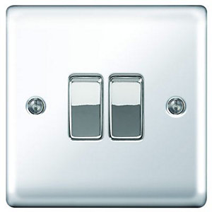 Wickes 10A Light Switch 2 Gang 2 Way Polished Chrome Raised Plate