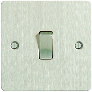 Wickes 10A Light Switch 1 Gang 2 Way Brushed Steel Ultra Flat Plate
