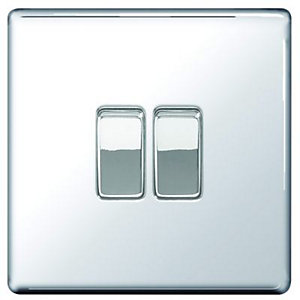 Wickes 10A Light Switch 2 Gang 2 Way Polished Chrome Screwless Flat Plate