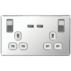 Wickes 13A Screwless Twin Switched Socket with 2 x USB Ports - Polished Silver