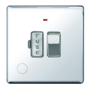 Wickes 13A Switched Fused Socket + LED Screwless Flat Plate Polished Chrome