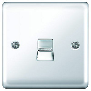 Wickes Single Raised Plate Master Telephone Socket - Polished Chrome