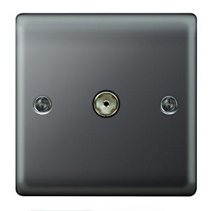 Wickes Single Raised Plate Coaxial Socket - Black