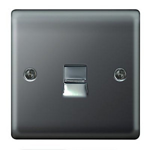 Wickes Raised Plate Master Telephone Socket - Black Nickel