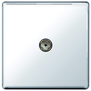 Wickes Single Screwless Flat Plate Coaxial Socket - Polished Chrome