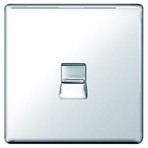 Wickes Single Screwless Flat Plate Master Telephone Socket - Polished Chrome