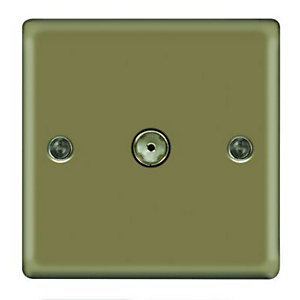 Wickes Single Raised Plate Coaxial Socket - Pearl Nickel